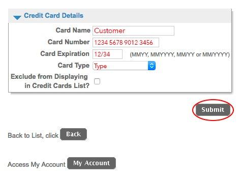 Enter Credit Card details