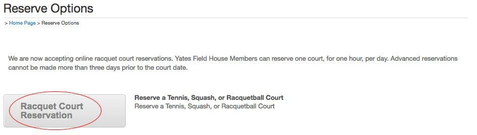 Racquet Court Reservation