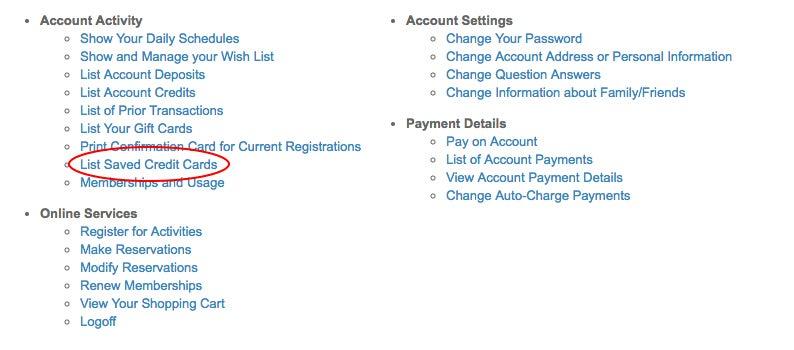 List Saved Credit Cards