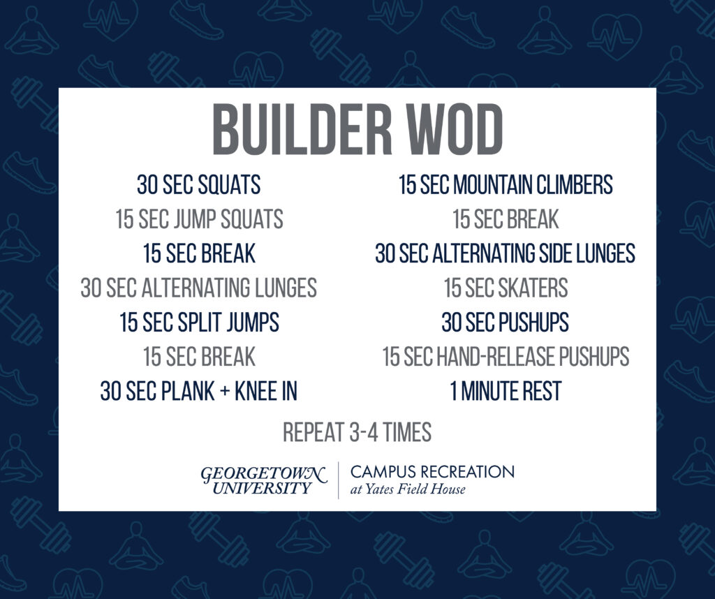 Text on white box, with a dark blue background of faded blue fitness icons.  Builder WOD 30 sec squats 15 sec jump squats 15 sec break 30 sec alternating lunges 15 sec split jumps 15 sec break 30 sec plank + knee in 15 sec Mountain climbers 15 sec break 30 sec alternating side lunges 15 sec skaters 30 sec Pushups 15 sec Hand-release Pushups 1 minute rest Repeat 3-4 times Yates Logo